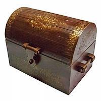 Сундук коричневый, замки и ручки из дерева,украшен кружевами, массив дерева 34х22х26 см 30526B