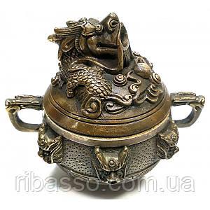 """Курительница бронзовая """"Дракон"""" 9,5х10х8 см 32045"""