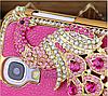 Розовый Чехол с павлином и камнями Сваровски для Samsung Galaxy S4