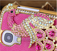 Розовый Чехол с павлином и камнями Сваровски для Samsung Galaxy S4, фото 1