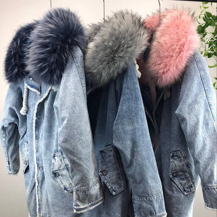 Парка женская зимняя джинсовая