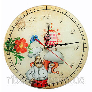 """Часы настенные """"Повар"""" стекло d-25 см тихий ход 29553A"""