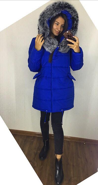 Шикарная теплая куртка с натуральным песцом 42-52рр.