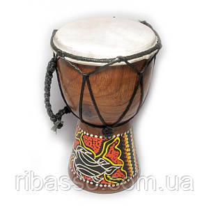 Барабан джембе расписной дерево с кожей 15х9,5х9,5 см 29389