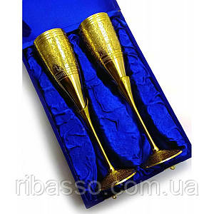 Бокалы бронзовые позолоченные н-р 2 шт/170мл. h-25 см 26,5х18х9 см 28314