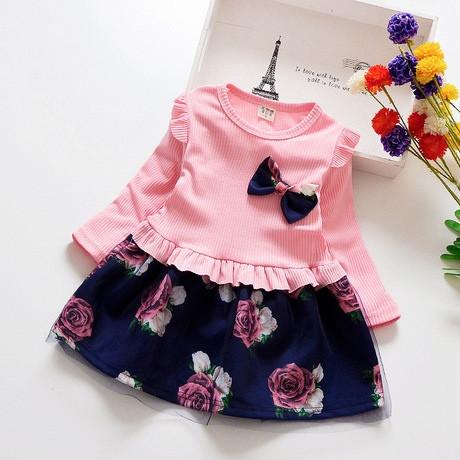 Платье нарядное детское на девочку длинный рукав розовое