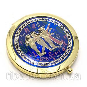"""Зеркальце косметическое """"Египет"""" золото d-7 см в коробке + чехольчикB 23947B"""