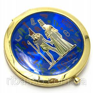 """Зеркальце косметическое """"Египет"""" золото d-7 см в коробке + чехольчикC 23947C"""