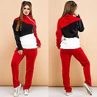 Женский спортивный костюм на флисе декорирован молнией, фото 1