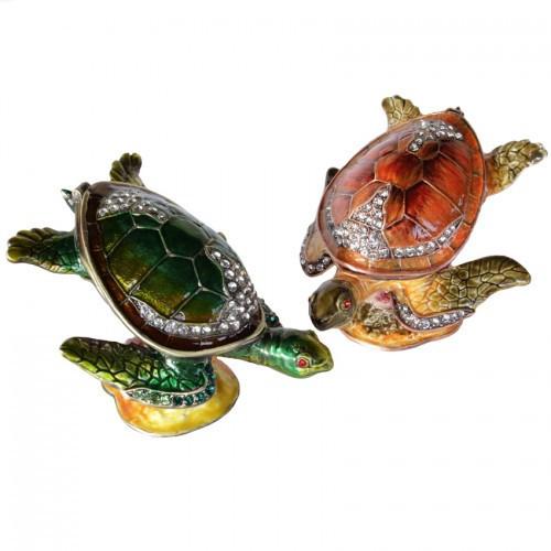 Шкатулка в виде Черепахи металлическая со стразами