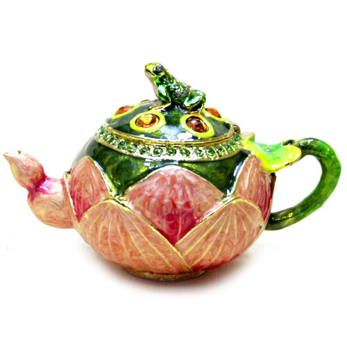 Шкатулка металлическая Чайник со стразами