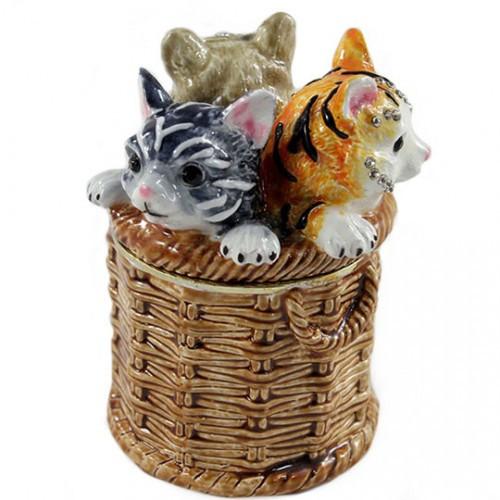 Фигурка Коты в корзинке шкатулка для украшений