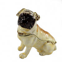 Подарочная шкатулка со стразами Собака Мопс