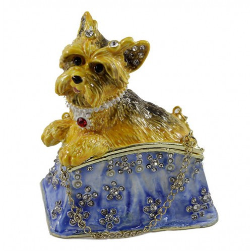 Шкатулка Собака Йорк на сумке со стразами в подарок