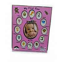 """Фоторамка на 13 фото """"Альбом новорожденного"""" розовый фото 8,6х10,5 см 3,8х5,1 см 30х25х1,5см 32379B"""