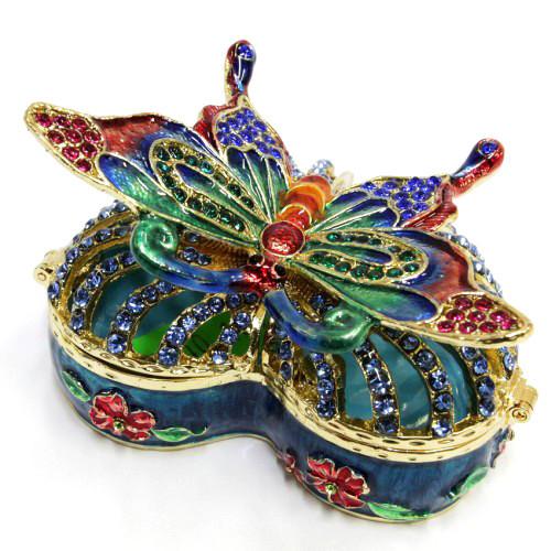 Металлическая шкатулка Бабочка на сердце для украшений