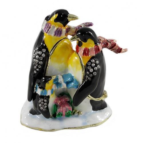 Шкатулка Пингвины со стразами из металла
