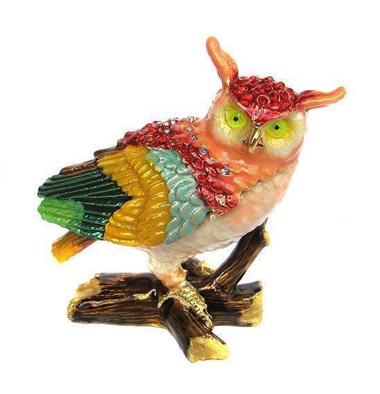 Шкатулка фигурка Сова цветная со стразами