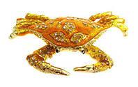 Сувенир шкатулка Краб со стразами