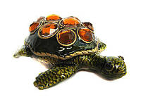 Шкатулка Черепаха из металла в стразах