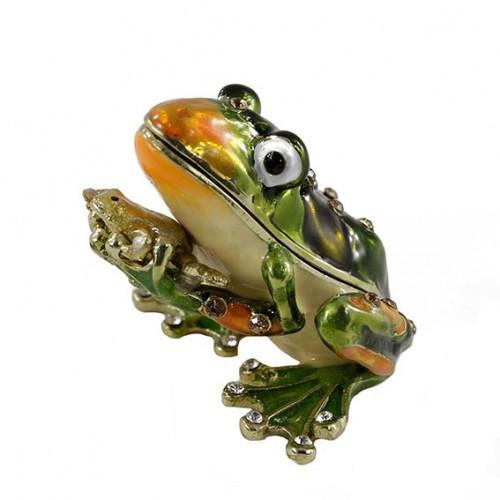 Металлическая шкатулка со стразами Лягушка