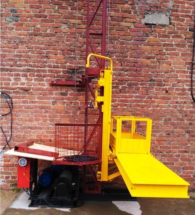 Строительный подъемник мачтовый секционный с выкатной платформой ПМГ г/п 500 кг . Мачтовые подъёмники H- 75  м