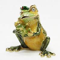 Шкатулка в подарок из металла Лягушка с лягушоном