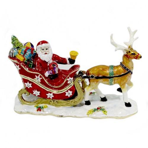 Шкатулка со стразами Дед Мороз на санях