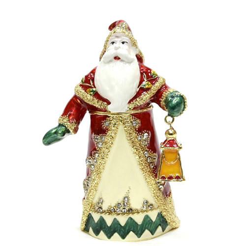 Металлическая шкатулка новогодняя Дед мороз с фонарем