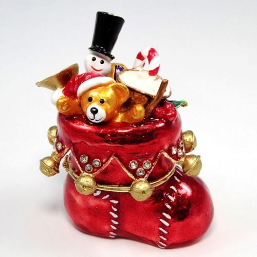 Скляна скринька з металу Різдвяний чобіт з іграшками