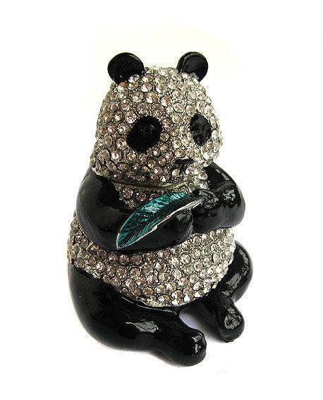 Шкатулка со стразами металлическая Панда