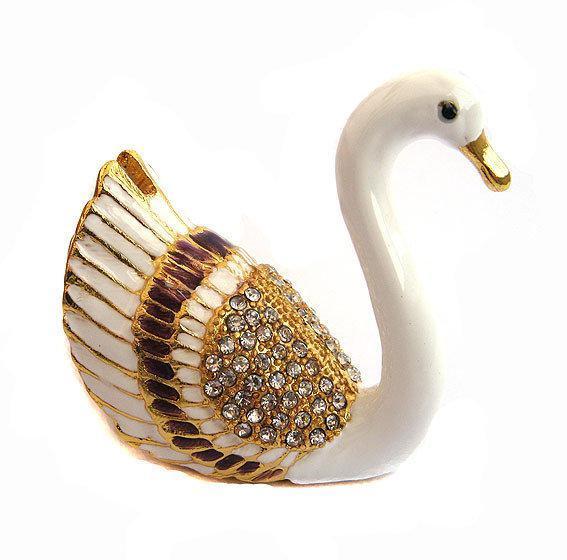 Красивая шкатулка металлическая Лебедь