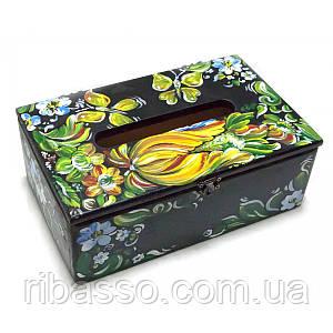 """Салфетница """"Цветы с бабочкой"""" 26х15 см. ольха 29980A"""