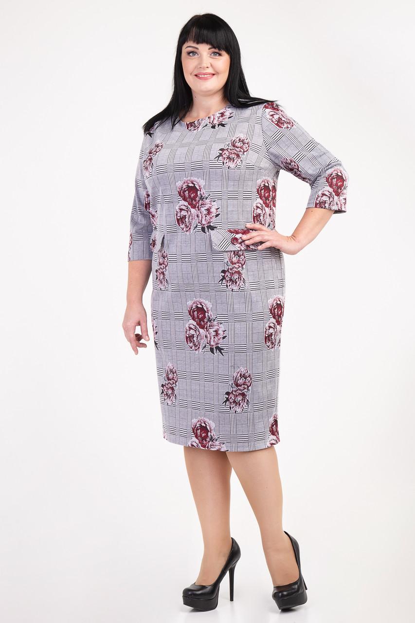 37d52ff8637 Женское платье большого размера с красивыми цветами в клетку ...