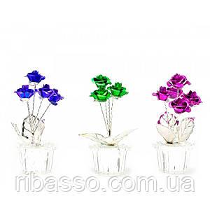 Розы в хрустальном горшке 7х3х3 см 24565