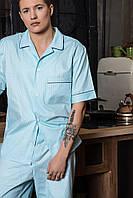 Мужская пижама шорты и рубашка с коротким рукавом хлопок