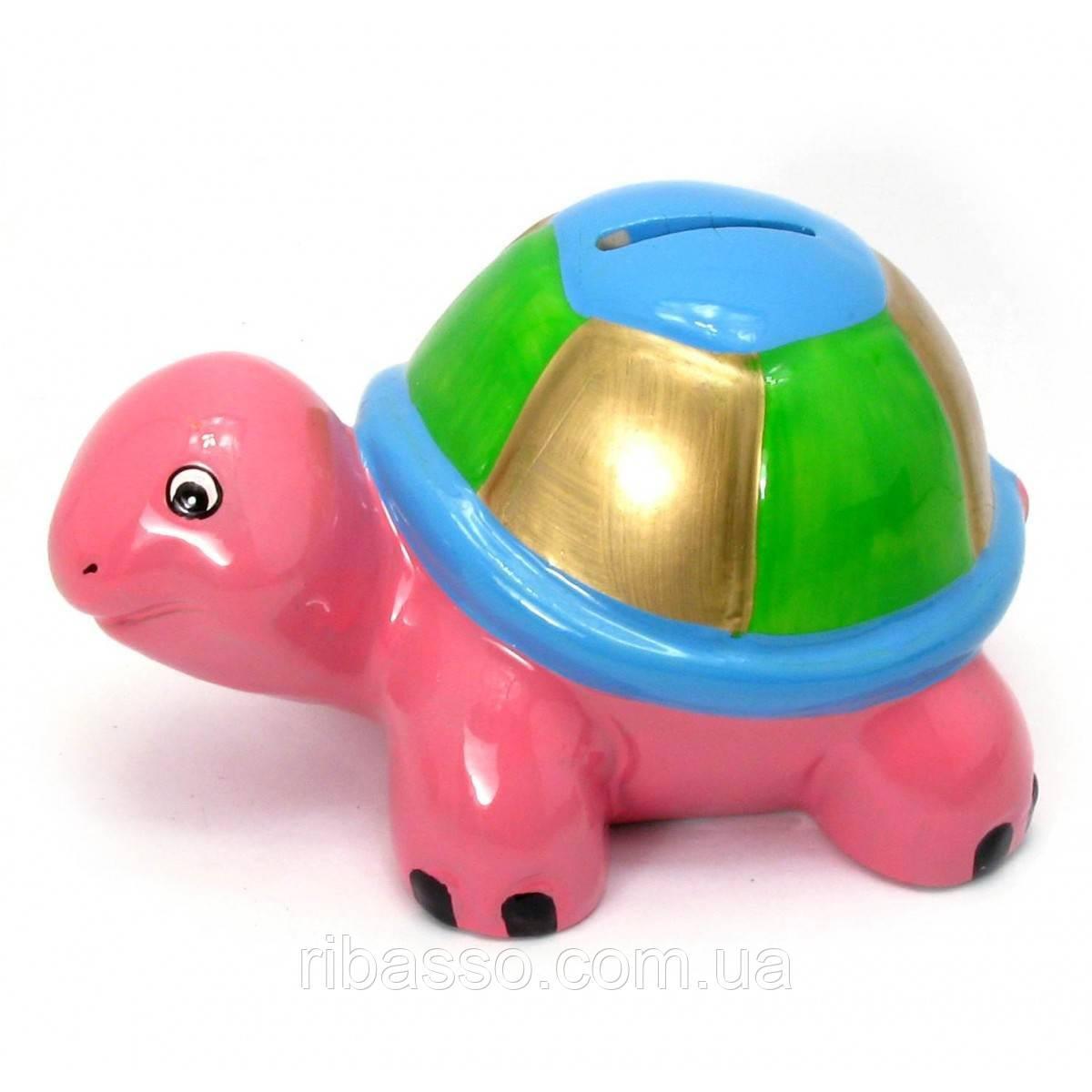 """Копилка """"Черепаха"""" керамика розовая 14,5х8,5х9 см 29695A"""