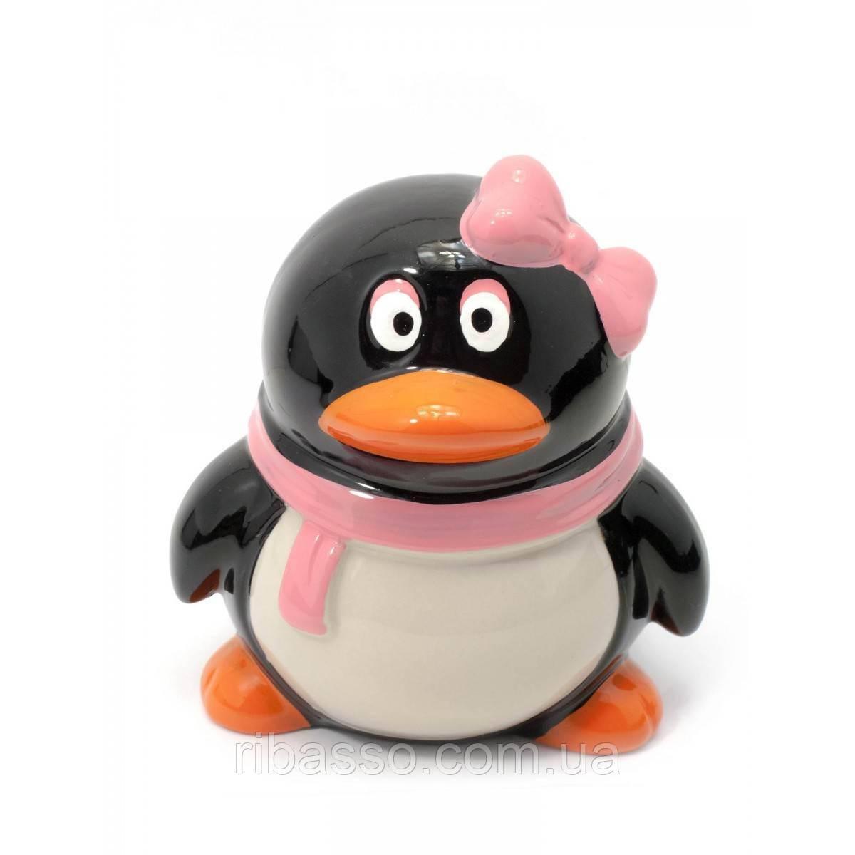 """Копилка керамическая """"Пингвин с бантиком"""" 13х11х9,5 см 29779A"""