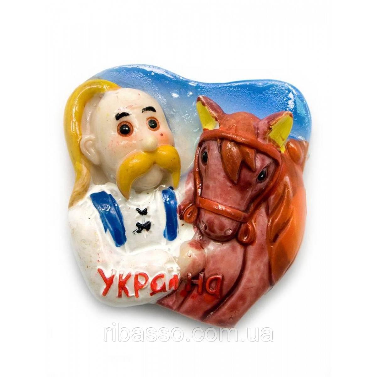 """Магнит """"Козак с конем"""" 20/уп 5х5,5 см 23057"""