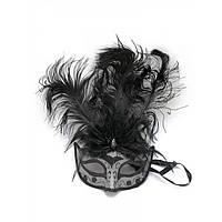 Маска венецианская с перьями черная 25х16х5 см 29649A