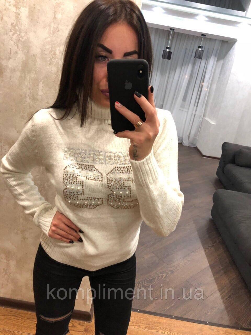 Красивий жіночий в'язаний светр,білий.Виробництво Туреччина.NВ 2417