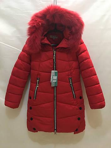 Подростковая зимняя куртка для девочки р.140-164 красный, фото 2
