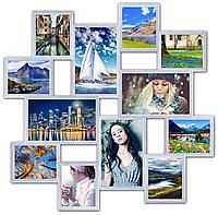 Рамка для фотографий на стену на 12 фото. белая., фото 1