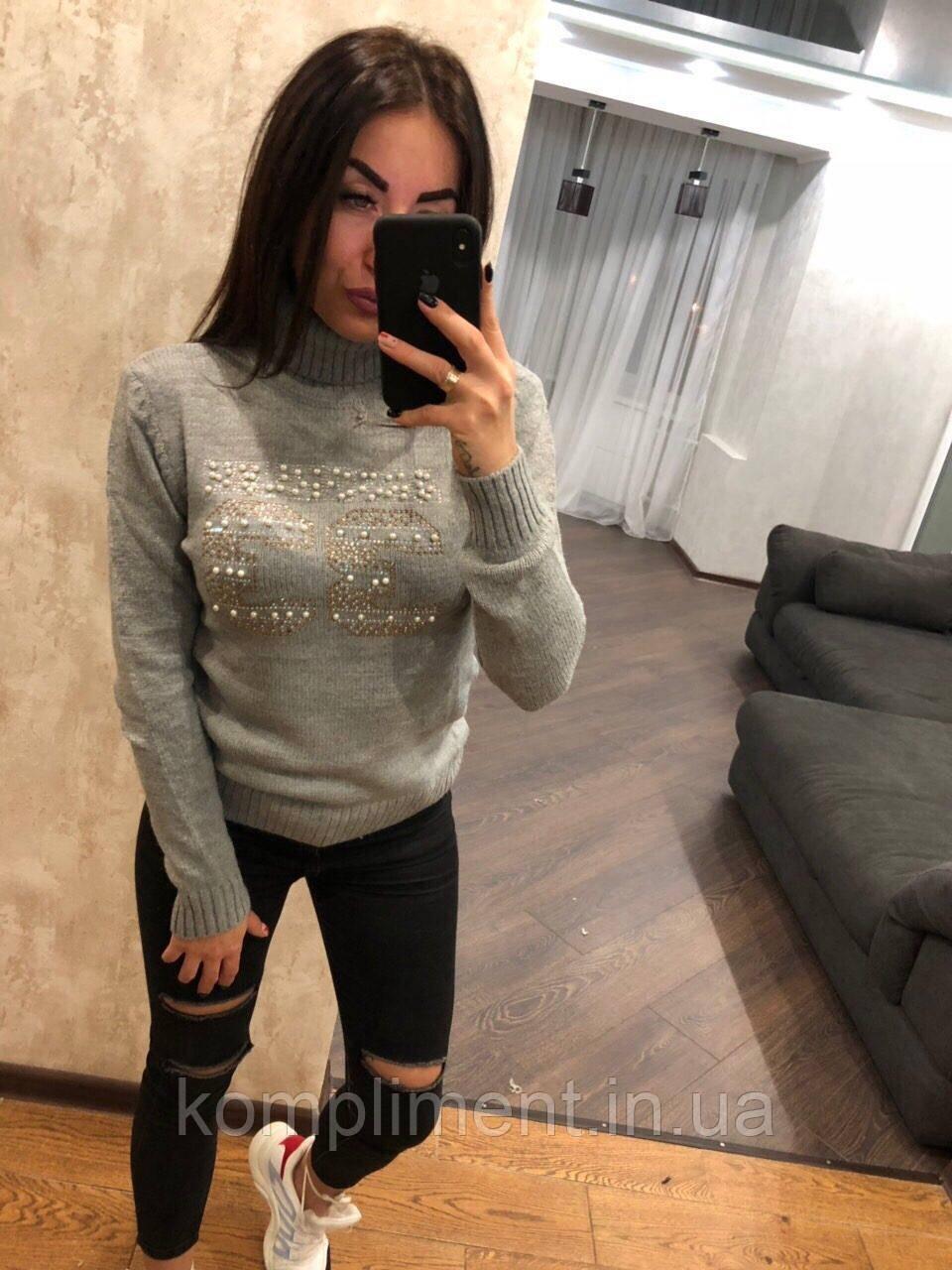 Красивий жіночий в'язаний светр,сірий.Виробництво Туреччина.NВ 2418
