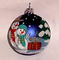 "Стеклянный шар с рисунком 60 мм ""Два снеговичка"", фото 1"