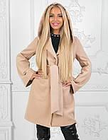 Демисезонное пальто с капюшоном. Бежевое, 3 цвета.