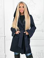 Демисезонное пальто с капюшоном. Синее, 3 цвета.