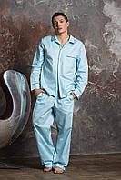 Мужская пижама хлопок штаны и рубашка с длинным рукавом