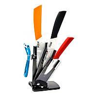 Ножи керамические на подставке набор 3 ножа+чистилка 26432