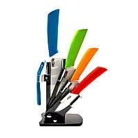Ножи керамические на подставке набор 4 ножа+чистилка 26434
